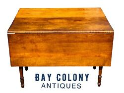 19th C Antique Country Primitive Tiger Maple Sheraton Drop Leaf Bakers Table