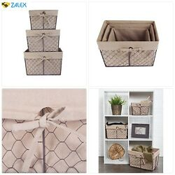 Dii Vintage Chicken Wire Baskets For Storage Removable Fabric Liner, Assorted Se