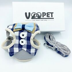 Voopet Easy to Put On amp; Take Off Dog S no pull harness and leash blue white chec