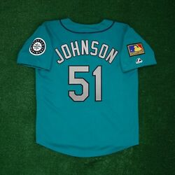 Randy Johnson 1994 Seattle Mariners 125th Anniv. Alt Teal Jersey Menand039s M-2xl