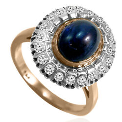 14k Rose And White Gold Genuine Cabochon Sapphire And Diamond Russian Style Ring