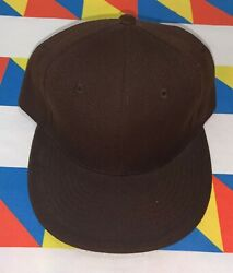 Red Bbq Solid Brown Fitted Hat Size 7 1/2 Acrylic Wool Blend