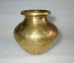 1850and039s Antique Old Brass Rich Patina And Carving Hindu Temple Use Holy Water Pot