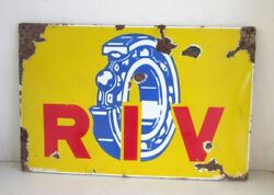 1930and039s Rare Antique Old R I V Ball Bearing Ad Porcelain Enamel Sign Board Italy