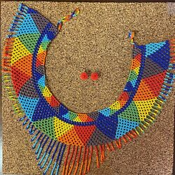 Mexican Huichol Handmade Necklace And Earrings