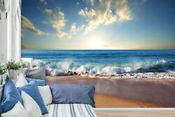 3D Beach Waves ZHUA1746 Wallpaper Wall Murals Removable Self adhesive Amy