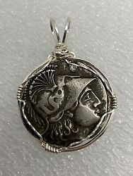 Sterling Silver .925 Wire Wrapped Greek Alexander The Great Coin Pendant