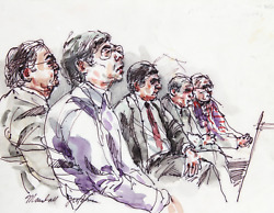 Marshall Goodman, 02 - Five Figures Right Profiles, Watercolor On Paper, Signed