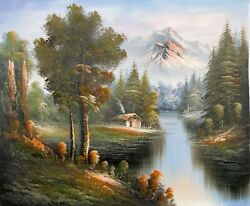 Shumu Fu Mountain Landscape With Cabin 16 Oil On Canvas Unsigned