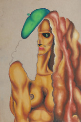 Jon Robyn Cat Woman With Green Beret Pastel On Paper