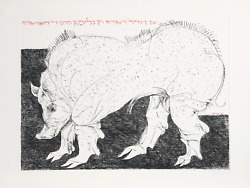 Leonard Baskin, Warthog, Drypoint Etching On Arches, Signed And Numbered In Penc