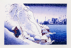 Michael Knigin Snow At Tsukahara After Kunishige Archival Pigment Print Sign