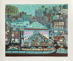 Ralph Fasanella Going To Work Screenprint Signed Numbered And Dated In Penc