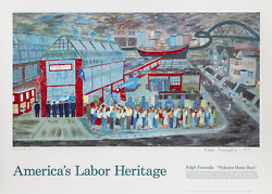 Ralph Fasanella, Welcome Home Boys For America's Labor Heritage, Poster, Signed