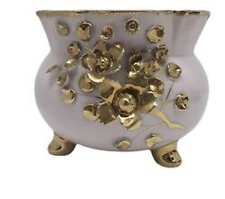 Lefton China Mcm Pink And Gold Footed Glass Vase Bowl 50433 Handpainted Concole