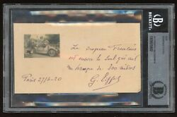 Gustave Eiffel Ans Signed Cut Beckett Bas Autograph French Flag Content Tower