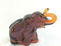 Heisey By Imperial Amber Large Papa Elephant Animal-- Only 15 Ever Made