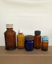 Very Rare Vintage Old Apothecary Medicine And Perfume Bottles 5pcs