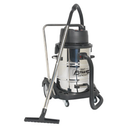 Sealey Vacuum Cleaner Industrial Wet And Dry 77l Stainless Steel Drum With Swiv...