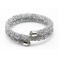 Silver amp; Silver Double Wrap Crystal Dust Bracelet Made with Swarovski Elements $10.99