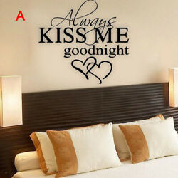 ALWAYS KISS ME GOODNIGHT LOVE Quote DIY Wall Sticker Indoor Removable Decals
