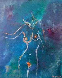 Original Superb Indre Vilke Peachy Pretty Nude Girl Abstract Woman Painting