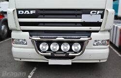 To Fit Pre 2014 Daf Cf Polished Steel Grill Light Bar + Step Pads Type A