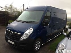 To Fit 2010+ Renault Master Mwb Steel Side Bars Steps Pads X4 Tapered Ends