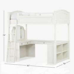 Pottery Barn Chelsea Vanity Loft Bed Full Simply White In-home.andnbsp 2 Years Old