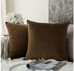 """Pack of 2 Velvet Solid Decorative Square Throw Pillow Covers 18""""x18"""" Chocolate"""