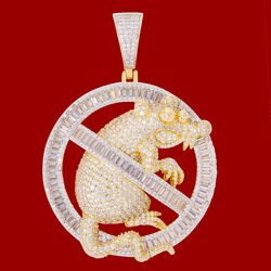 Men#x27;s 14K Yellow Gold Finish Baguette NO RATS ALLOWED Pendant w FREE ROPE CHAIN $79.80