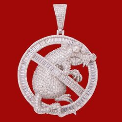 Men#x27;s 14K White Gold Finish Baguette NO RATS ALLOWED Pendant w FREE ROPE CHAIN $79.80