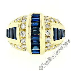 Vintage 14k Gold 4.86ctw Channel Baguette Sapphire Round Diamond Wide Dome Ring