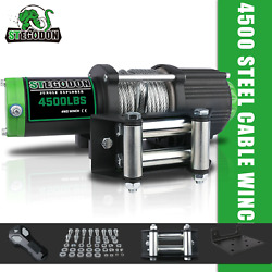 Stegodon Electric Winch 4500lbs 12v Steel Cable Tow Truck Atv Utv Offroad Boat