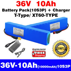 36v 10ah Rechargeable Li-ion 10s3p Battery Pack + Charger T / Xt60 Types E Bike