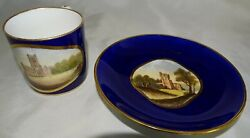 Bloor Derby England Tea Cup And Saucer Hand Painted Castle Scenes On Cobalt