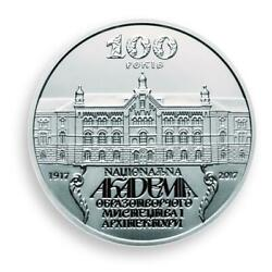 Ukraine 5 Hryven 100th National Academy Of Arts Architecture Silver Coin 2017