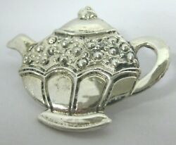 Mary Engelbreit Sterling Silver Teapot Brooch Pin Signed Me 1-1/2 1-1/8