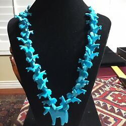 Native American Turquoise Stacking Stacking Horses Fetish Necklace Wrapped Ends