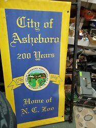 Vintage Canvas Banner Sign Nc Asheboro Zoo 65x36 1796 To 1996 200 Years