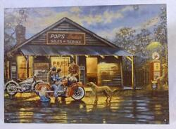Pops Indian Sales And Service Man Cave Motorcycle Memorabilia Metal Sign