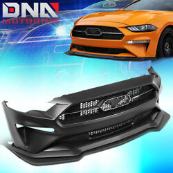 For 2018-2020 Ford Mustang Gt500 Style Front Bumper Protector Cover + Grille