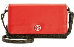 Giani Bernini Block Signature Crossbody Wallet Phone Case Brown Poppy Red Clutch $28.80