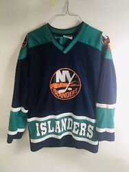 Vintage Ny Islanders Hockey Jersey. Spell Out, Turquoise Size Small Mighty-mac