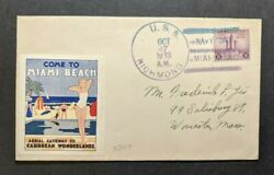 1933 Uss Richmond Navy Cover To Worcester Ma Navy Day Miami Ship Cancel