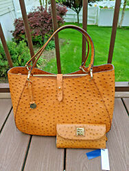 Dooney And Bourke Tan Sahara Ostrich Large Camilla And Continental Clutch Wallet