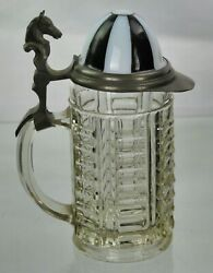 Horse Racing Jockey Cap Antique Victorian Glass And Pewter Beer Tankard