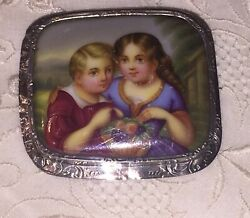 Antique Victorian Portrait Cameo Hand Paint Porcelain Brooch Pin Sterling Child
