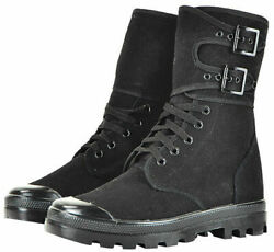 Mil-tec Mens 5 Hole Lace Up And Buckle French Army Style Boot Black