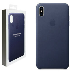 Official Apple Leather Rear Case Cover For Iphone Xs Max Leather - Midnight Blue